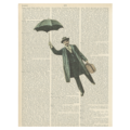 Flying umbrella man