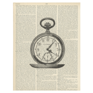 Pepin Design vintage dictionary print - pocket watch
