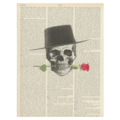 Pepin Design vintage dictionary print - skull with rose